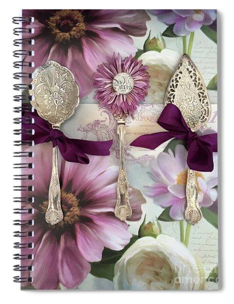 Vintage Spoons Flatware Lavender Purple Pink Floral Spoon Kitchen Wall Decor Spiral Notebook