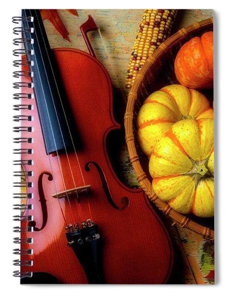 Violin And Autumn Pumpkins Spiral Notebook