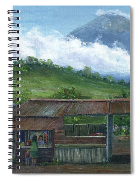 Volcano Agua, Guatemala, With Fruit Stand Spiral Notebook