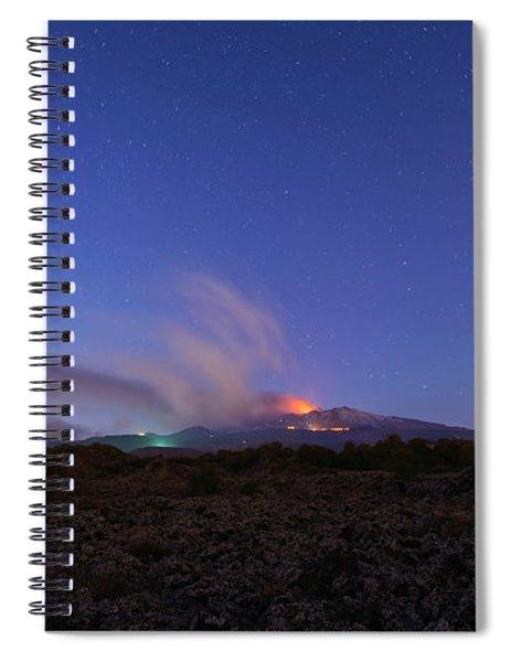 Spiral Notebook featuring the photograph Volcano Etna Eruption by Mirko Chessari