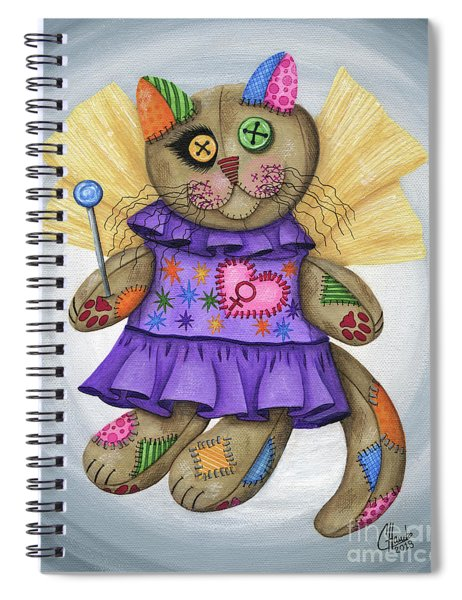 Voodoo Empress Fairy Cat Doll - Patchwork Cat Spiral Notebook