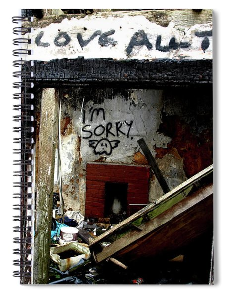 Wall, Sorry Spiral Notebook by Edward Lee