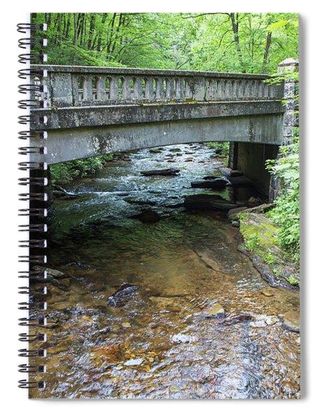 Water Flowing Beneath A Rustic Bridge Spiral Notebook