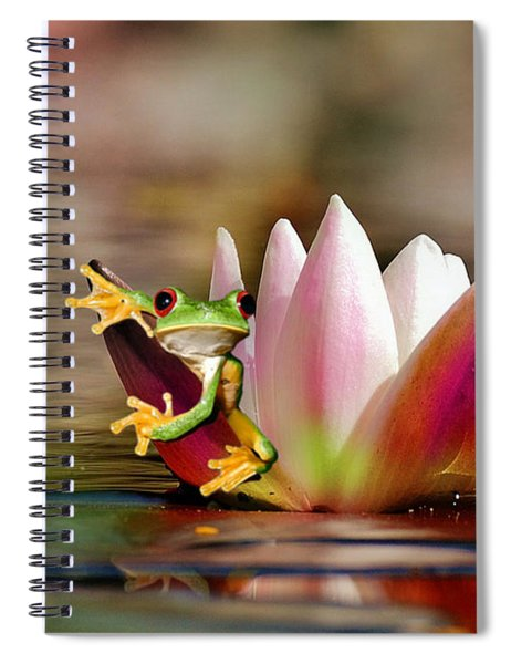 Water Lily And Frog Spiral Notebook