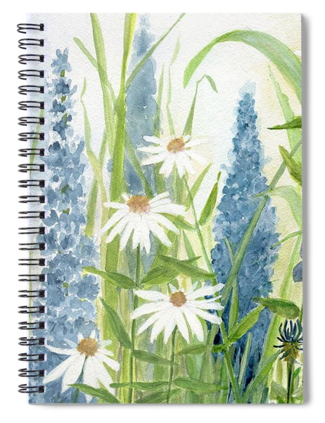 Watercolor Blue Flowers Spiral Notebook