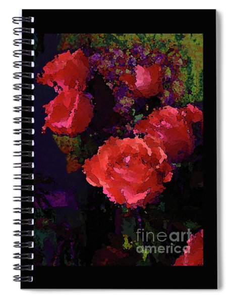 Watercolor Roses Orange With Purple Spiral Notebook