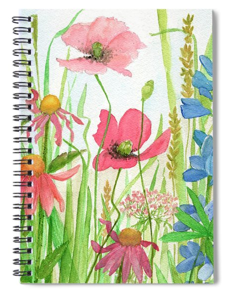 Watercolor Touch Of Blue Flowers Spiral Notebook
