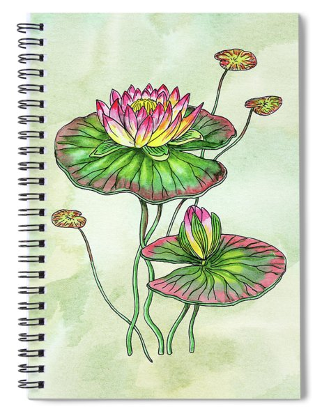 Watercolor Water Lily Botanical Flower Spiral Notebook