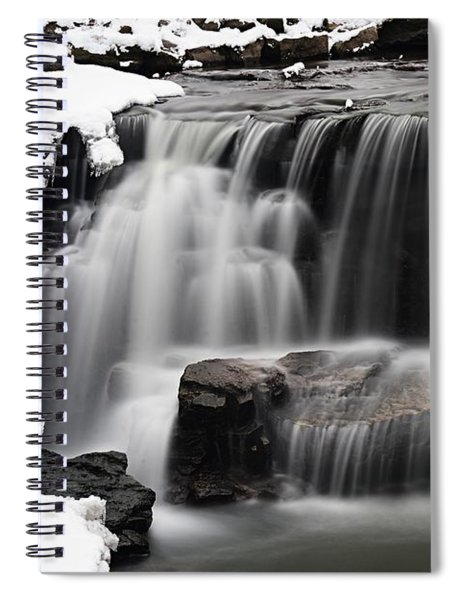Waterfall And Snow Spiral Notebook