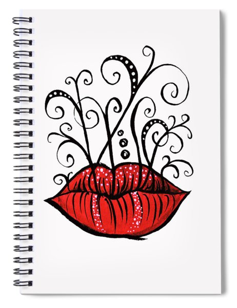 Weird Lips Ink Drawing Tattoo Style Spiral Notebook