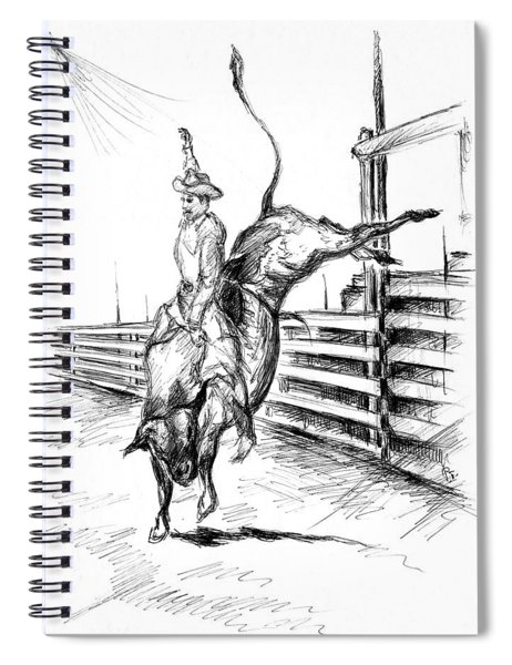 Western Rodeo Bull Ride - Pencil Drawing Spiral Notebook