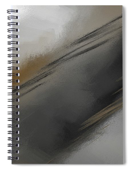 Whispered - Gray And Taupe Abstract Art Spiral Notebook