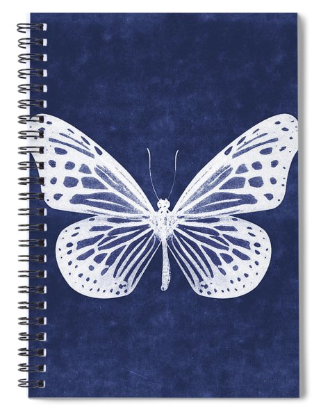 White And Indigo Butterfly- Art By Linda Woods Spiral Notebook