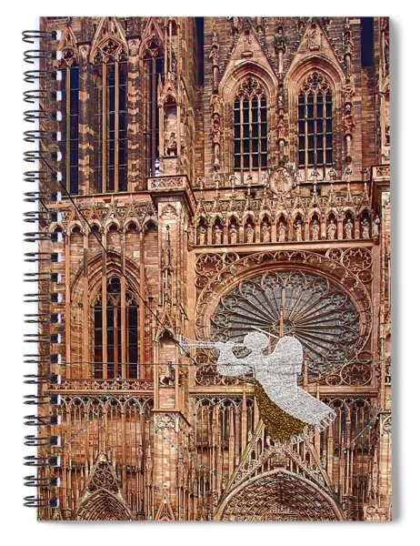 White Angel Decorations On Shops At The Christmas Market Spiral Notebook