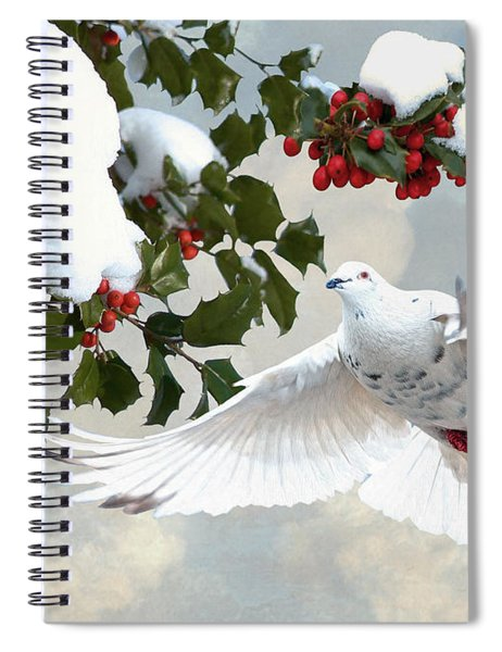 White Dove And Holly Spiral Notebook