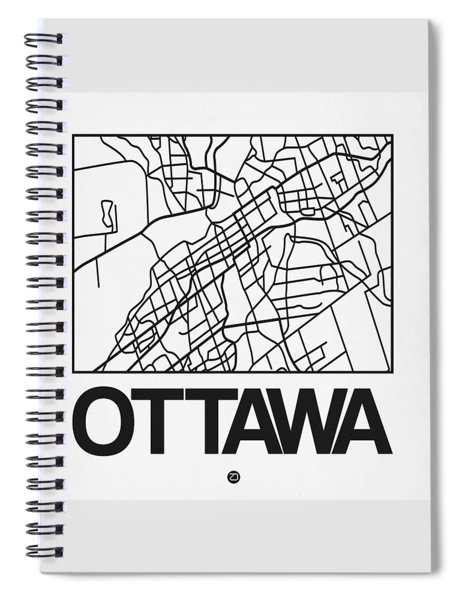 White Map Of Ottawa Spiral Notebook
