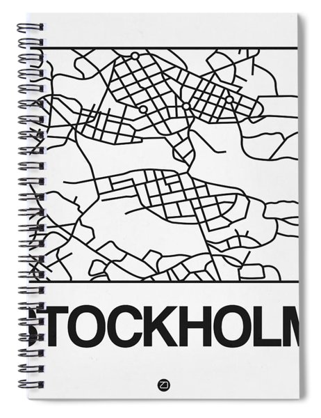 White Map Of Stockholm Spiral Notebook