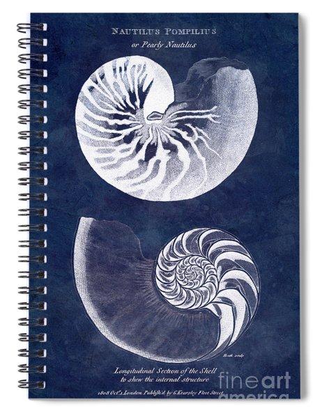 White Nautilus On Blue Spiral Notebook