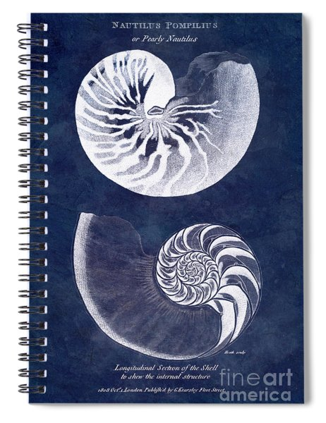 White Nautilus On Blue Spiral Notebook