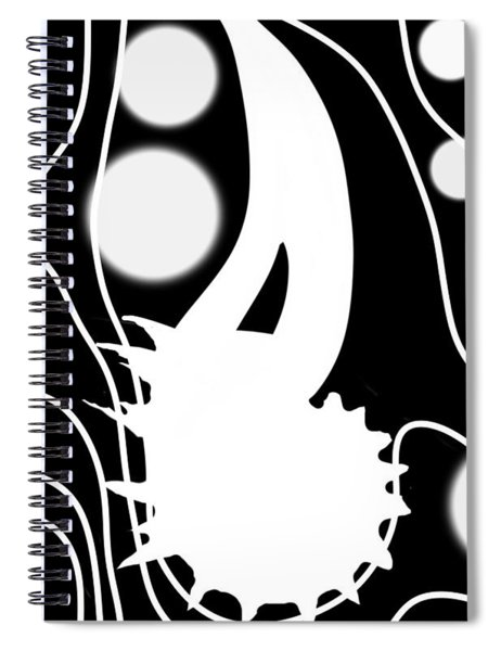 White On Black Lost Tail Spiral Notebook