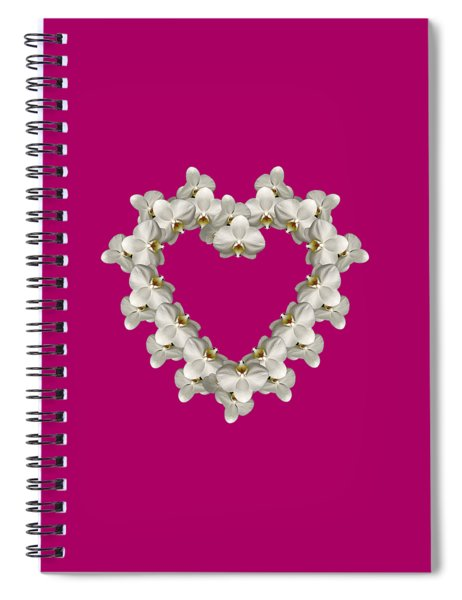 White Orchid Floral Heart Love And Romance Spiral Notebook by Rose Santuci-Sofranko