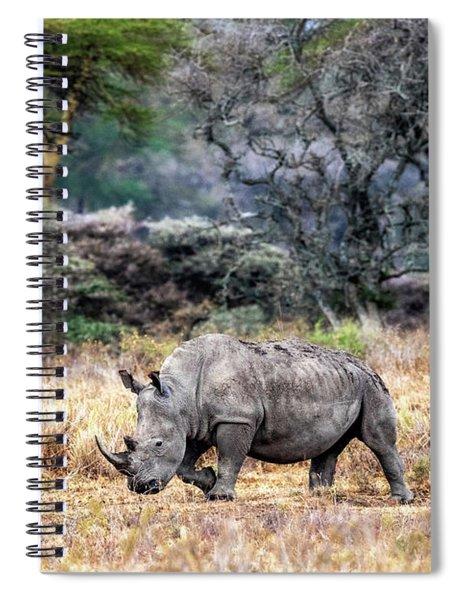 White Rhino Walking Side In Lake Nakuru Kenya Spiral Notebook
