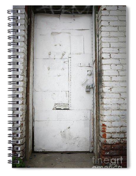 White Steel Factory Door Chinatown Washington Dc Spiral Notebook by Edward Fielding