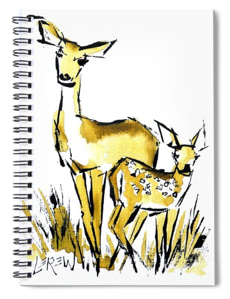 White Tail Doe And Fawn Deer Spiral Notebook