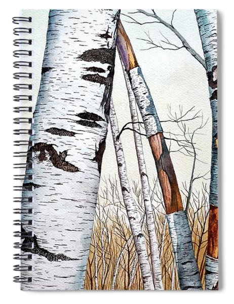 Wild Birch Trees In The Forest In Watercolor Spiral Notebook