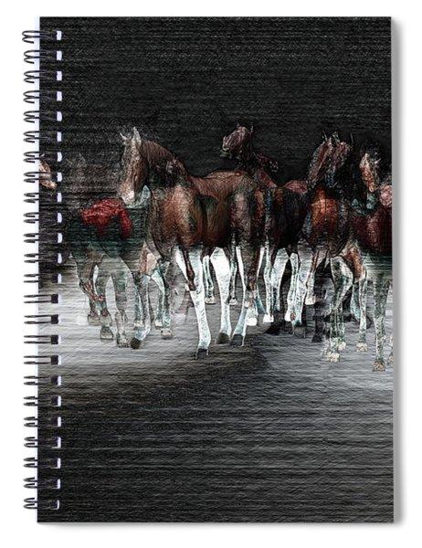 Wild Horses Under Spotlight Spiral Notebook