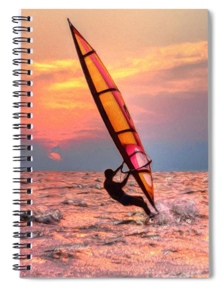 Windsurfing At Sunrise Spiral Notebook