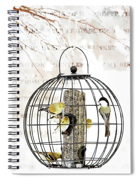 Winter Bird Feeder  Spiral Notebook