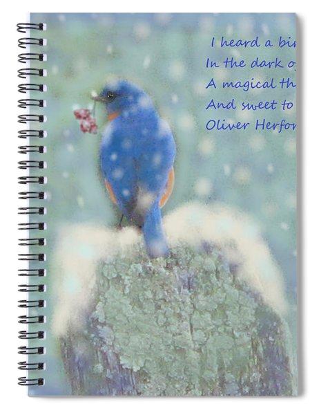 Winter Blue Bird Spiral Notebook