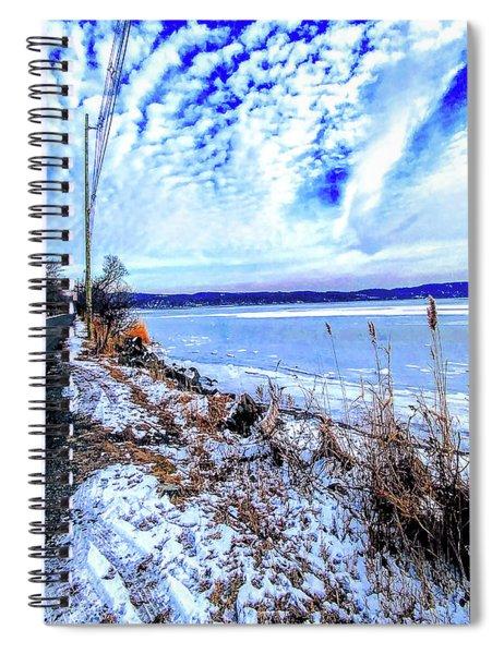 Winter Hudson River Causeway Spiral Notebook
