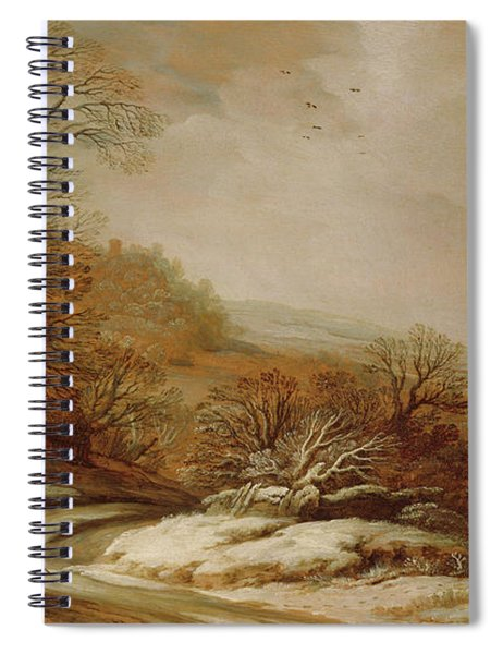 Winter Landscape With Cottages, 1625 Spiral Notebook