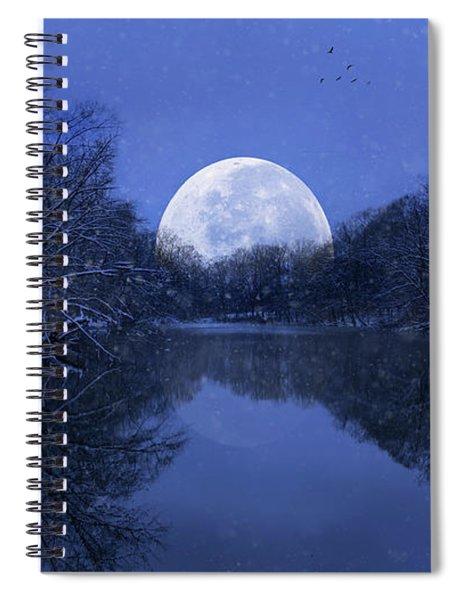 Winter Night On The Pond Spiral Notebook