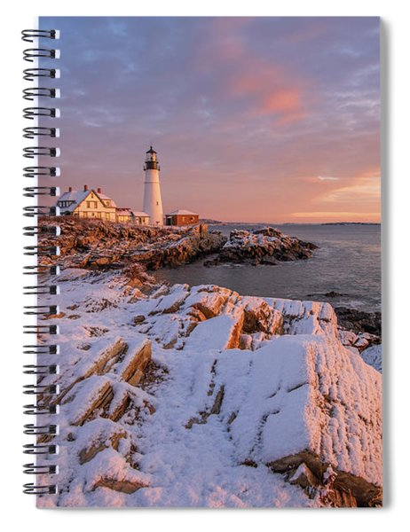 Winter Sunrise At Portland Head Light Spiral Notebook