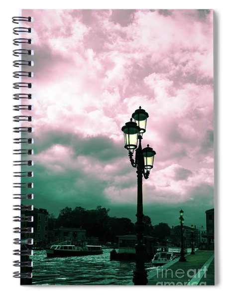 Winter Venice Lantern On The Embankment Spiral Notebook