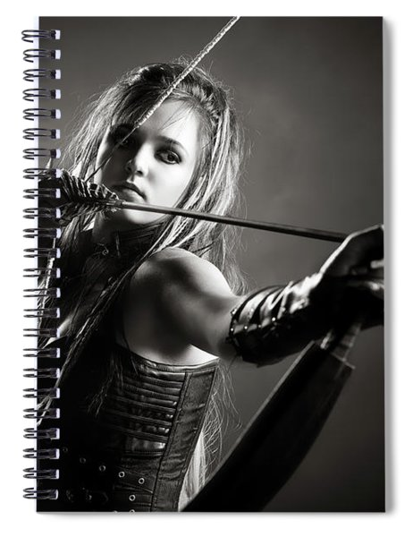 Woman Archer Aiming Arrow Spiral Notebook