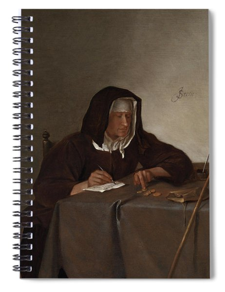 Woman Counting Coins Spiral Notebook