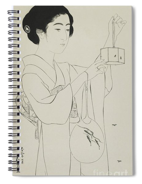 Woman Holding A Firefly Cage, Taisho Era, July 1920 Spiral Notebook