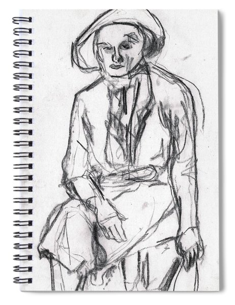 Woman In A Hat Drawing Spiral Notebook