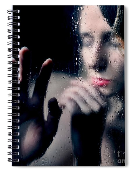 Woman Portrait Behind Glass With Rain Drops Spiral Notebook