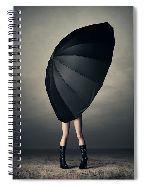Woman With Huge Umbrella Spiral Notebook