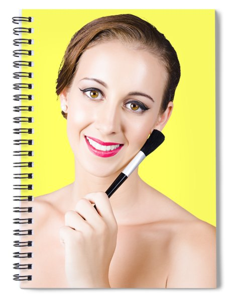 Woman With Makeup Brush Spiral Notebook