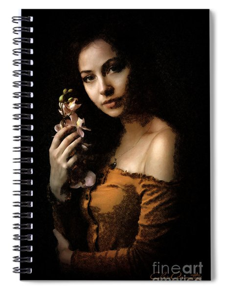 Woman With Orchid Spiral Notebook