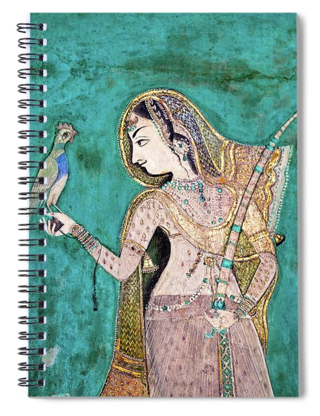 Woman With Parrot Spiral Notebook
