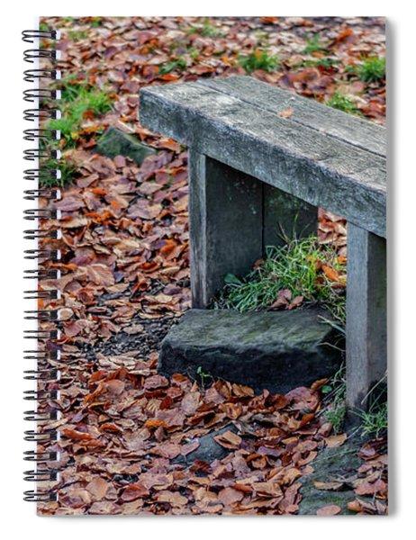 Wooden Autumn Bench Spiral Notebook by Scott Lyons