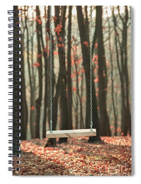 Wooden Swing In Autumn Forest Spiral Notebook