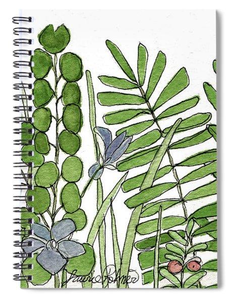 Woodland Ferns Violets Nature Illustration Spiral Notebook